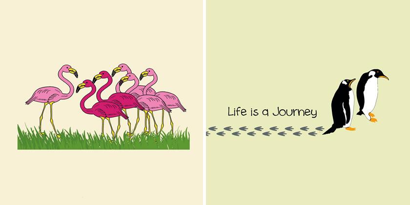 Caroline and George Louw - Flamingos and Penguins
