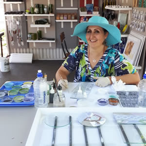 Janette Anderson- Glassroom – and her painted and colourful slumped glass