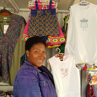 Lebogang Morgan, Modice Creation – with her baby and children's clothing, fabric necklaces and waist ties