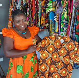 Nicky Mayoyo and her clothing made from African fabrics, and jewellery made from semi-precious stones