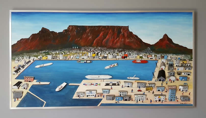 Cape Town harbour painting by Tafara Karidza at Spier Craft Market