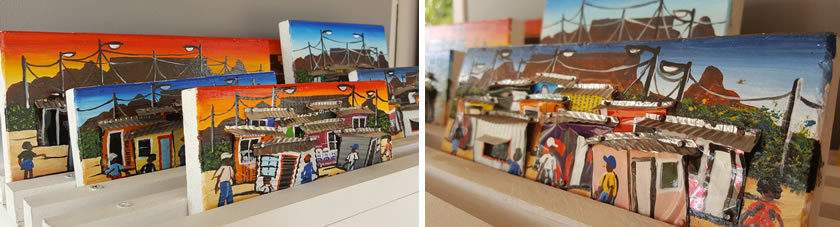 Township paintings by Tafara Karidza at Spier Craft Market