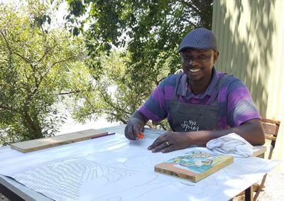 Zach Mukwira - visual artist at Spier Craft Market